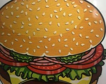 Burger beach throw - burger shawl -burger tapestry -Free gift with purchase - hamburger Beach T hrow - Hamburger Shawl - Hamburger Tapestry