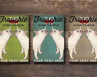 DOUBLE FRENCHIE Custom Text French Bulldog Free Custom Personalized Winery Vineyards Fowler Native Vermont Ready-to-Hang Canvas