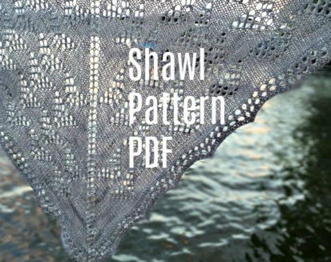 PDF Ocean in the Moonlight Lace Shawl Knitting Pattern Lace Yarn Digital Download silver gray grey merino silk shawl pattern treasuregoddess