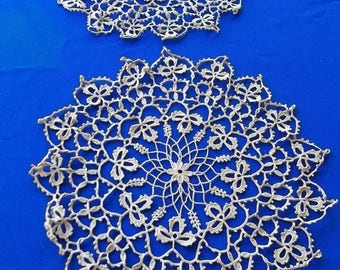 Antique set Crochet 3 leaf clover design Doilies set 2 pre 1910's dark tan threads 12 and 13 inches Fine workmanship