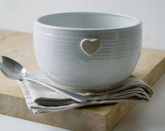 Handmade stoneware bowl - wheel thrown bowl in brilliant white with heart motif