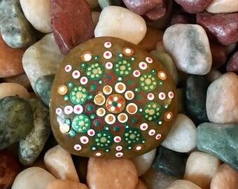 Engraved and Handpainted Mandala Stone