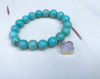 Stretchy Beaded Turquoise Bracelet with Quatrefoil Charm