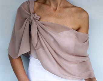 Tan Chiffon Shawl Evening Nude  Bridal Stole Wrap, Bridesmaid Shoulder Scarf Mocha Dress Cover, Women Fashion Accessory, Mother of the Bride