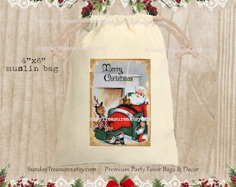 Vintage Santa and Reindeer Muslin Gift Bag  / 4x6 / Rustic Red Blue / CHRISTMAS Gift Card Holder / Hot Cocoa Packet Holder / QTY DISCOUNT