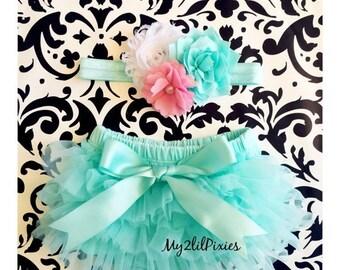 SALE Baby Bloomer and Headband Set- Ruffle Bum Baby Bloomer, spring set , mint tutu bum bloomer,Easter set,newborn bloomer, baby girl photo
