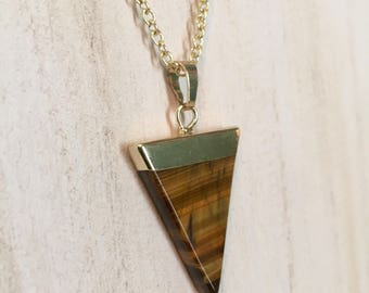 """Tiger's Eye 18"""" Necklace - Gold Tone Triangle Pendant"""