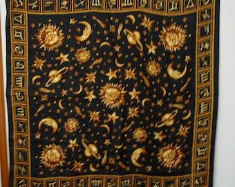Vintage Astrological Zodiac Scarf Sun Planets Moon Stars
