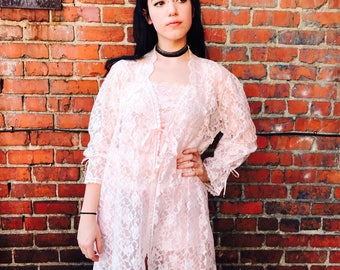 Vintage Pink Lace Slip