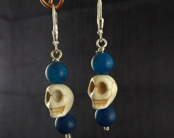 Dyed Agate Beads, Carved Bone Skull,  and Sterling Silver Dangle Earrings
