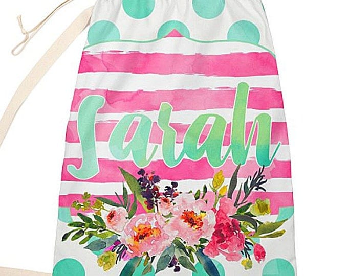 Laundry Bag, Personalized Laundry tote, watercolor floral design bag, monogrammed overnight bag, summer beach bag, family laundry, teen bag