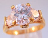 SHIPS 6/26 w/FREE Jewelry 3ct CZ 3 Stone Engagement Anniversary Ring Gold Plated Copper Size 9 Vintage Jewelry Jewellery