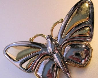 SALE & FREE SHIPPING Liz Claiborne Butterfly Brooch Pin Two Tone Vintage Jewelry Jewellery