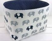 Elephant Basket Bin Elephant Nursery Decor Elephant Storage Fabric Bin Fabric Basket Home Decor Storage Bin Gray Navy Blue Storage Basket