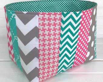 Storage Bin, Organizer Basket, Gray, Nursery Decor, Fabric Basket Bin, Home Decor, Grey, Pink, Teal, Turquoise, Chevron, Dots, Patchwork