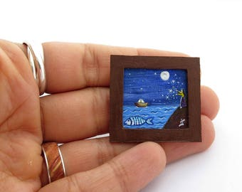 ORIGINAL Miniature Acrylic Painting, Christmas Gift for Dollhouse or Collection, Tiny Painting Starry Night, Fish and Boat