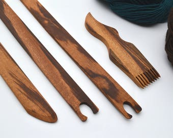 Large Weaving Tools Set for Large Looms - Ethically Produced Weaving Tools - Heirloom Quality