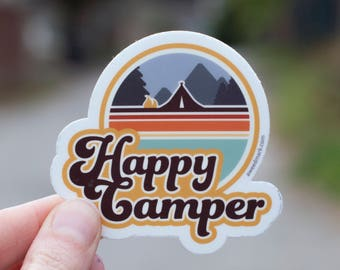 HAPPY CAMPER STICKER: camping, wilderness stickers, camplife, campfire, adventure stickers, outdoorsy stickers, travel stickers for luggage