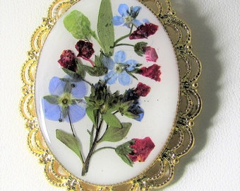 Forget Me  Not with Red Pomegranate , Pressed Flower Pendant, Real Flower Necklace,  Resin (3112)
