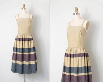 vintage late 1940s dress / striped cotton 40s dress  / extra small xs