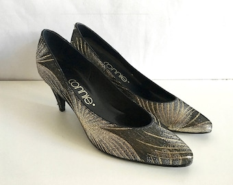 Vintage Shoes Women's 80's Gold, Silver, Black Heels by Connia (Size 8)