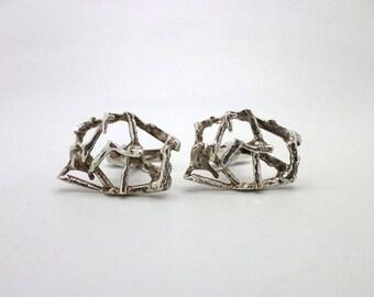 Modernist Cufflinks Cuff Links Vintage Modern 900 Silver Brutalist Style Great Father's Day Gift