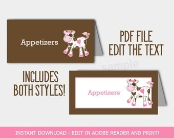 Cute Pink Cow Food Buffet Labels, Baby Shower Tent Cards, Table Cards, Editable Text includes 2 versions INSTANT DOWNLOAD bs-136