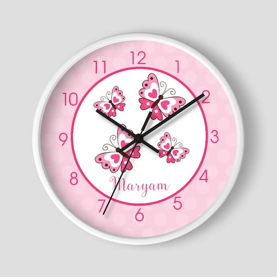 Pink Butterfly 10-inch Wall Clock / White Frame / Girls Room Wall ...