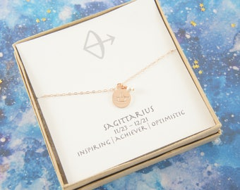 rose gold zodiac SAGITTARIUS necklace, birthday gift, custom personalized, gift for women girl, minimalist, simple necklace, layered