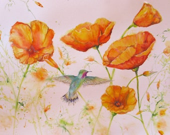large original poppy hummingbird painting, hummingbird poppy watercolor painting, wall decor, large home decor, orange california poppy art