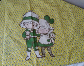 1970s Joan Walsh Anglund pillow case standard girl and boy