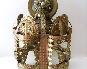 Vintage Chandelier Light Fixture Gold Metal Ceiling Light