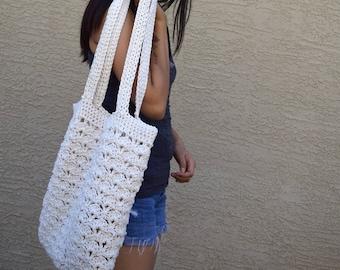 Crochet tote bag shoulder bag 100% cotton avoska handmade bag beach farmers market boho bohemian off white summer bag reusable tote