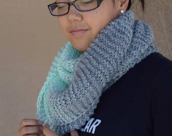 Knit cowl light gray mint infinity scarf knitted scarf snood neckwarmer women accessories gift for her gift for friend girlfriend gift