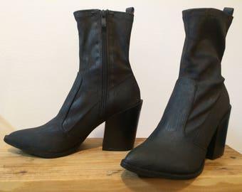 Black Brown Block Heel Western Sock Boot size 8 Pointy toe