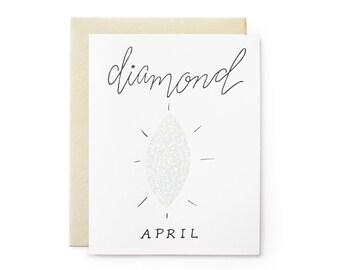 Diamond/April - letterpress card