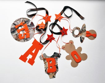 Baby shower decorations Real Tree Camo and Orange it's a boy banner by ParkersPrints on Etsy NEW Larger Size