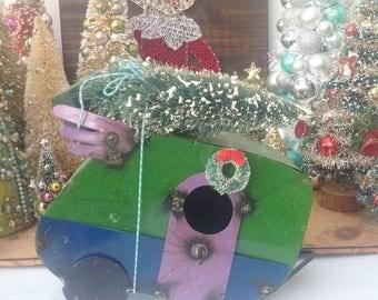 SALE Christmas camper RV birdhouse green bottlebrush tree. Mantel decor. Holiday decoration. Christmas decor. Camping. Handmade. Kitschy.