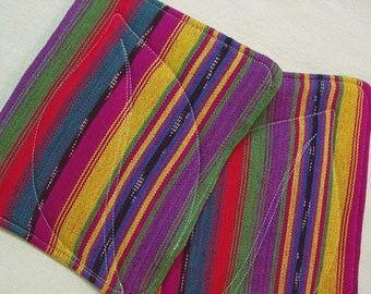 Pot Holders - Maya Bright Stripes Wrap Scrap - Insulated Pot Holders - Babywearing Keepsake - Kitchen Decor - Hostess Gift Housewarming Gift
