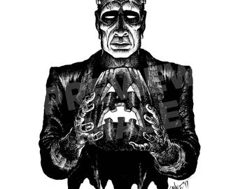 Monster Holiday: The Monster Original Halloween Ink Drawing