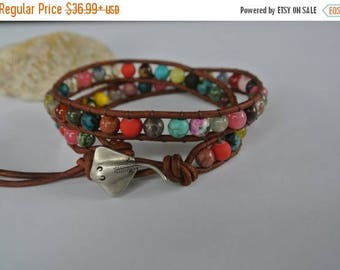 50% OFF SALE Summer Stingray Gemstone  Beaded Leather Wrap Anklet / Bracelet
