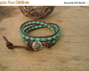 SALE 60% OFF Palazzo Turquoise Beaded Leather Wrap Bracelet
