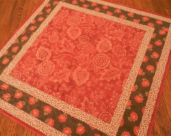 Quilted Table Topper with Flowers and Leaves, Red Brown and Cream, Floral Table Quilt, Quilted Tablecloth, Square Table Topper