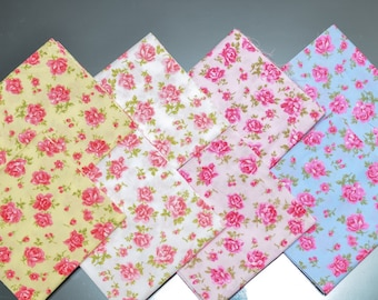 "Quilt Cotton Fabric 40 Charm Pack 5x5"" Squares English Floral Roses in 4 Colors"