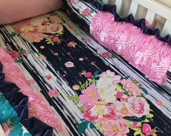 Navy Floral Crib Bumper, Baby Pink Baby Girl Bumper, Roses Crib Bumper, Baby Bumper Pads, Pink Roses Bumper Pads, Baby Bumper