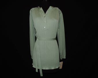70s sage green tunic blouse vintage hippie boho pleated plus size belted tunic top 1X new old stock