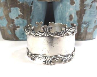 Sterling Silver Napkin Ring Vintage Ornate Scrolled Edge Victorian Sterling Silver Napkin Ring