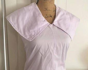 40% OFF Christmas in July Vintage 1950's Lavender Cotton Sailor Blouse -- Size M-L