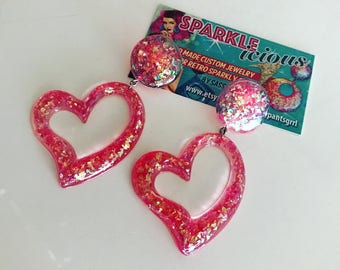Sparklelicious by Sassy Drop Hoop Heart Glitter Earrings -- Retro Sparkly Goodness - Kawaii -- Pinup