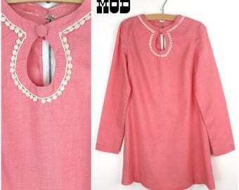 CHILD SIZE - Easy Breezy Vintage 60s 70s Salmon Pink Cotton Tunic Dress with Crochet Trim